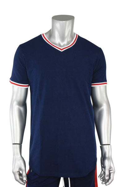 Jordan Craig Striped V-Neck Tee Navy (8961V)
