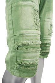 Rise Twill Pleated Denim Shorts Green (JS7120 22S)