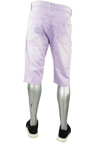 Bleach Twill Destroyed Denim Shorts Lavender (JS7320 22S)