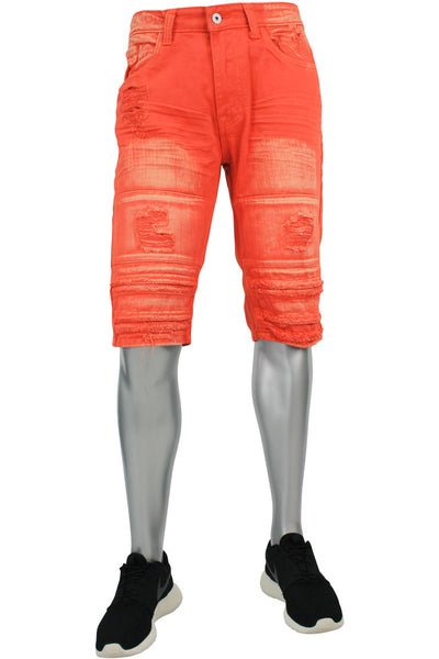 Rise Twill Pleated Denim Shorts Orange (JS7120 22S)