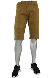Moto Denim Shorts Tan (7118 22S) - Zamage