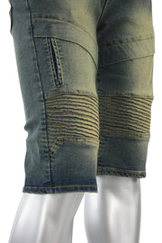 Moto Denim Shorts Vintage (7118 22S) - Zamage
