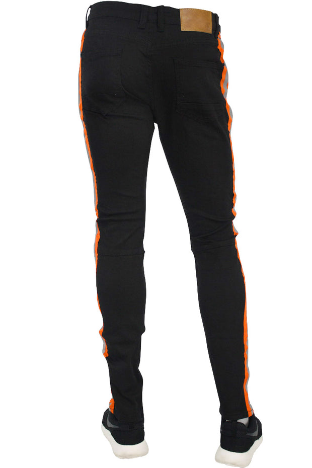 Reflective Side Stripe Slim Fit Track Denim Black - Orange (M4428T)