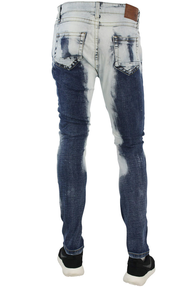 Ribbed Moto Skinny Fit Denim Blue Bleach (M4311D)