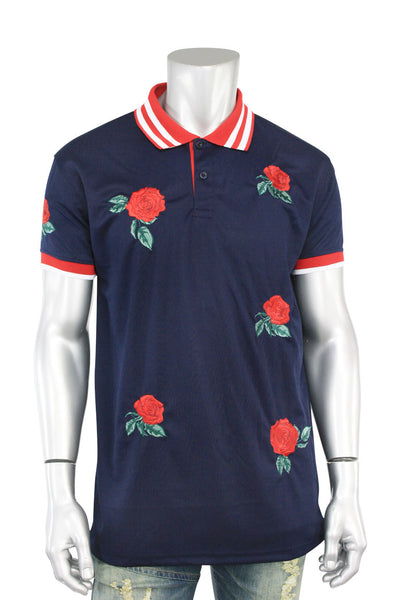 Rose Embroidered Pique Shirt Navy - Red (T831)