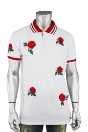 Rose Embroidered Pique Shirt White - Red (T831)