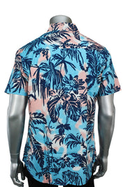 Short Sleeve Button Up Shirt Tropical Blue (3030 22S)