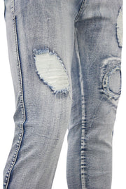Shredded Circle Stitched Slim Fit Denim Light Blue (M4304D)