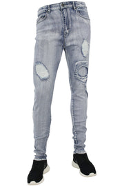 Shredded Circle Stitched Skinny Fit Denim Light Blue (M4304D 22S)