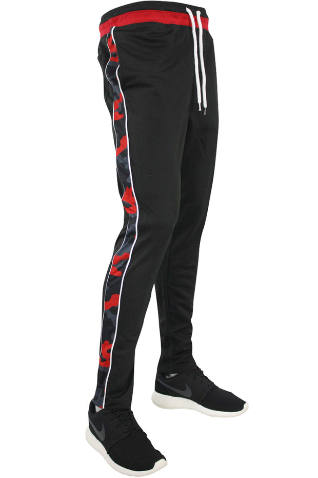 Side Stripe Camo Track Pants Black - Red - Grey (1282 22S)