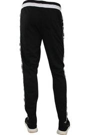 Side Stripe Checkered Track Pants Black - White (1282 22S)