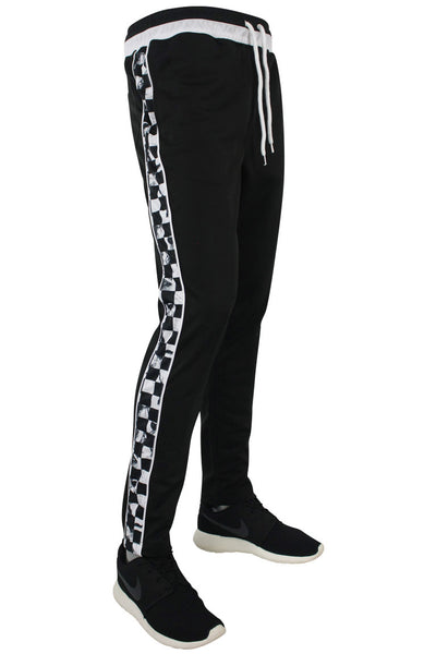 Side Stripe Checkered Track Pants Black - White (1282)