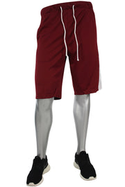 Side Stripe Color Block Track Shorts Burgundy - White (18528)