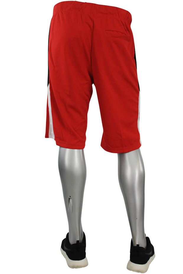 Side Stripe Color Block Track Shorts Red - White (18528)
