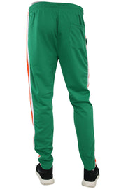 Side Stripe Pique Track Pants Green - Orange - White (1276)