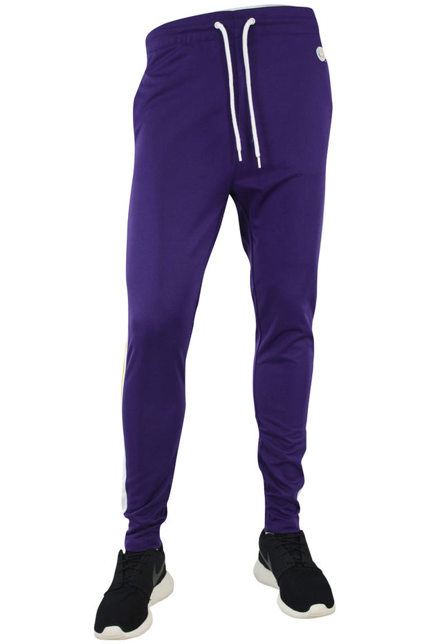 Side Stripe Pique Track Pants Purple - Yellow - White (1276)