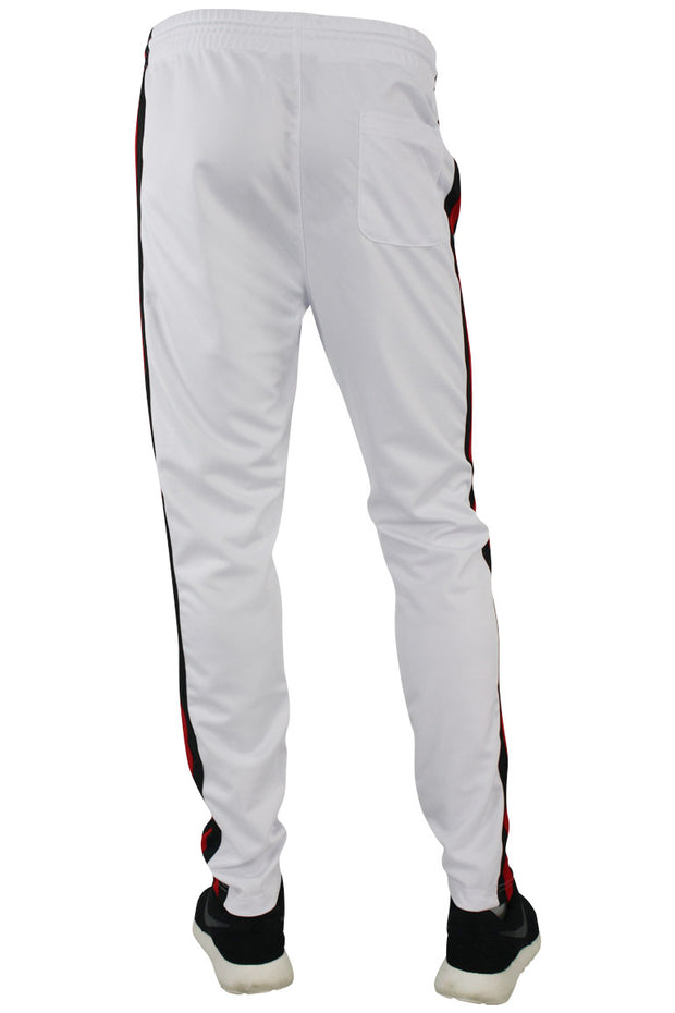 Side Stripe Pique Track Pants White - Red - Black (1276)