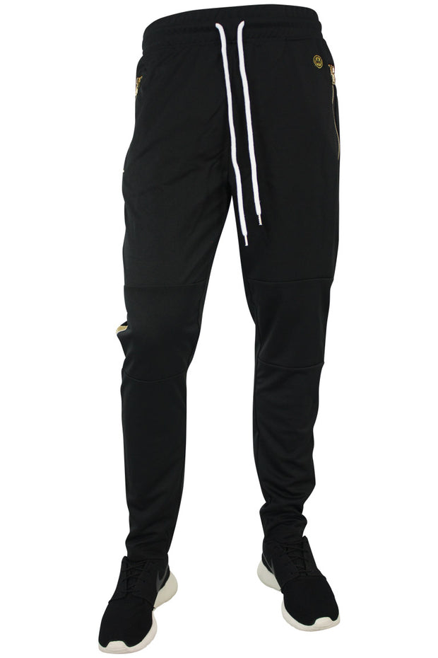 Side Stripe Shimmer Track Pants Black - Gold (1283)