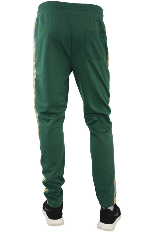 Side Stripe Shimmer Track Pants Green - Gold (1283)