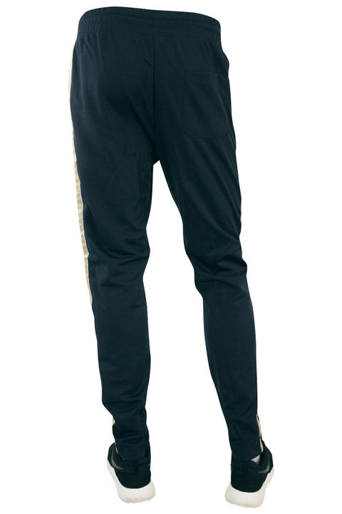 Side Stripe Shimmer Track Pants Navy - Gold (1283)