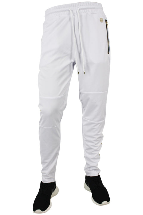Side Stripe Shimmer Track Pants White - Gold (1283)