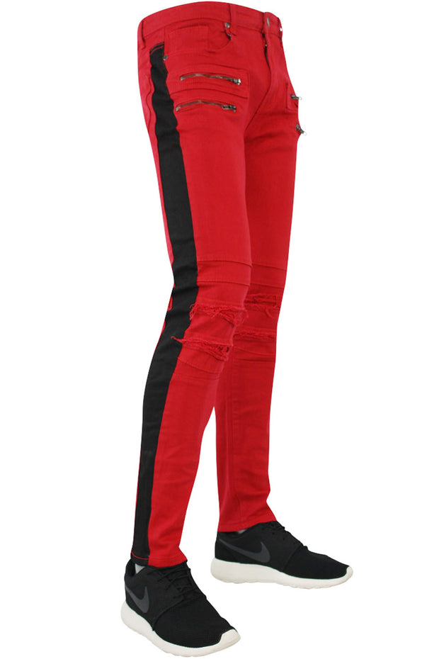 Side Stripe Slim Fit Moto Track Denim Red - Black (M4420TB)