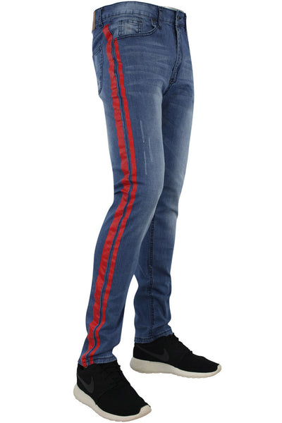 Side Stripe Slim Fit Track Denim Blue - Red (M4384D)