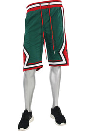 Star Stripe Tech Fleece Shorts Green - Red (BKS806)