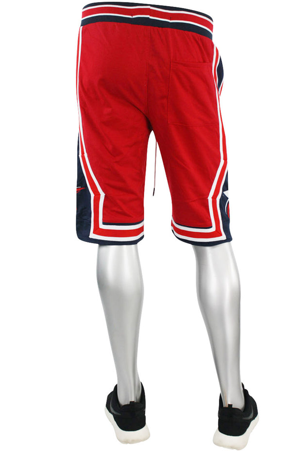 Star Stripe Tech Fleece Shorts Red - Navy (BKS806)
