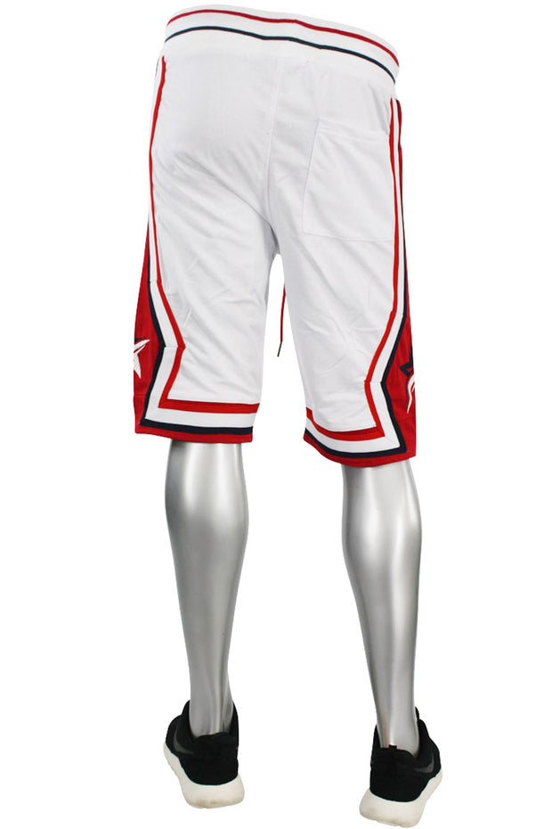 Star Stripe Tech Fleece Shorts White - Red (BKS806)