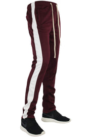 Stripe Track Pants Burgundy - White (FP800)