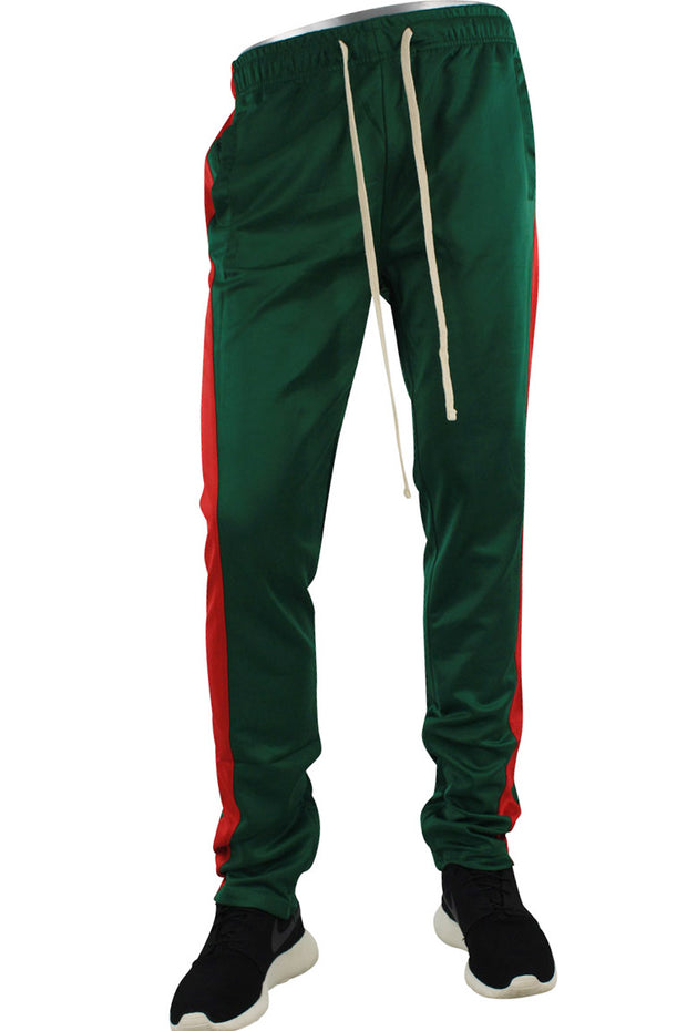 Stripe Track Pants Green - Red (FP800)