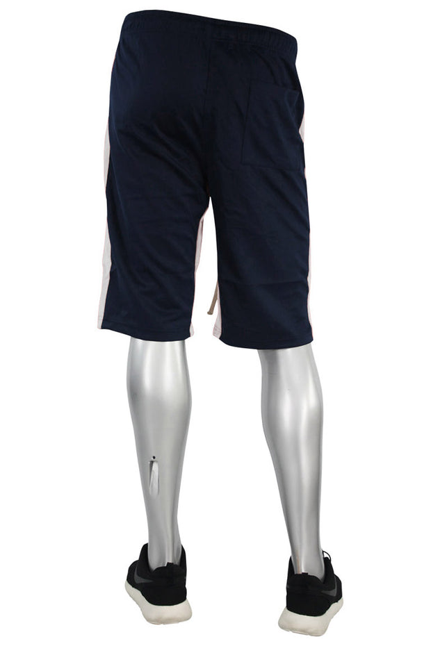 Stripe Track Shorts Navy - White (SP800 22S) - Zamage