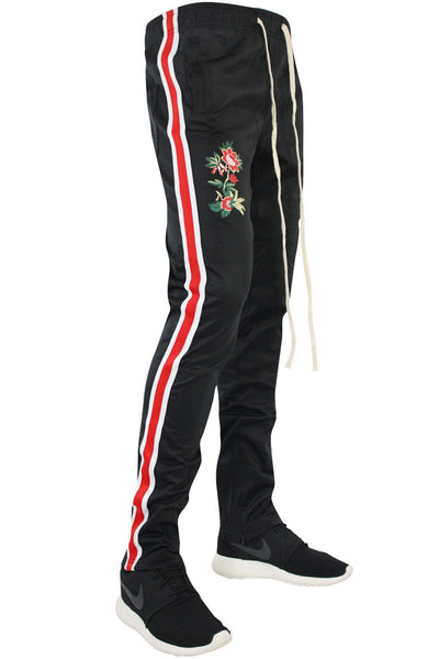 Tiger Color Side Stripe Track Pants Black - Red - White (FP802)