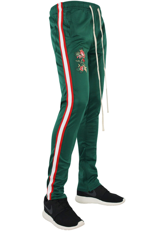 Tiger Color Side Stripe Track Pants Green - Red - White (FP802)
