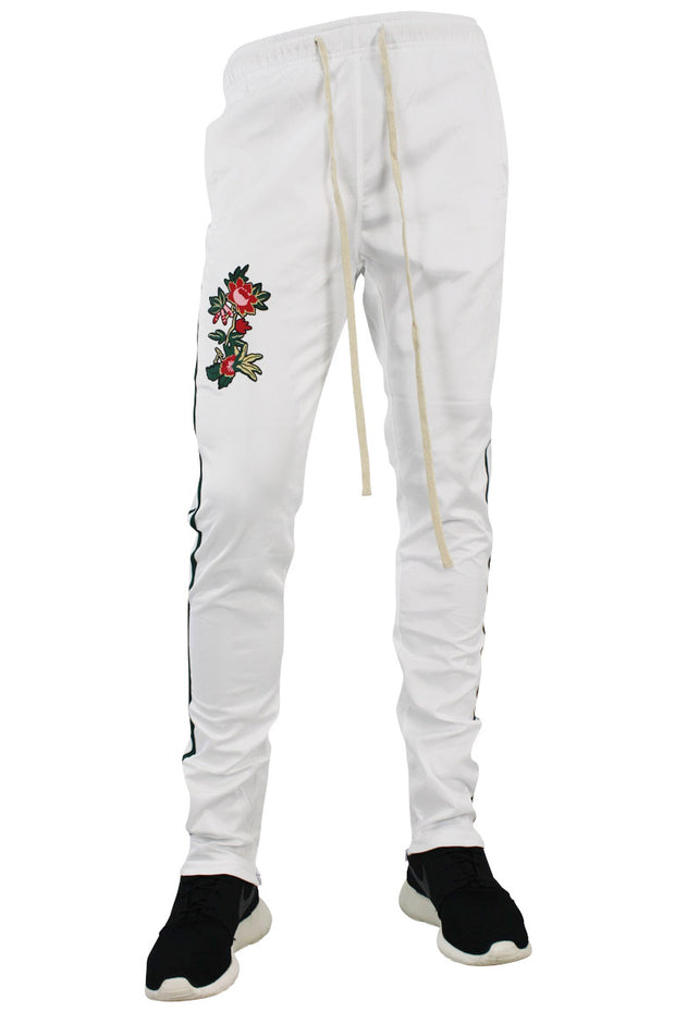 Tiger Color Side Stripe Track Pants White - Green (FP802)