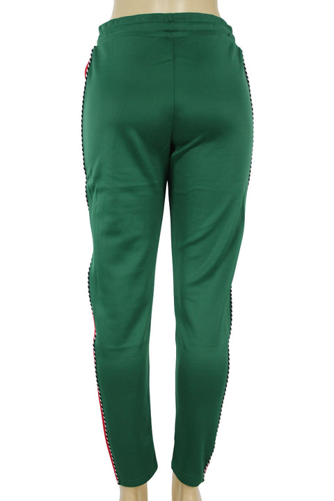 Women's Side Stripe Piping Track Pants Green - Red (PL864 22S)