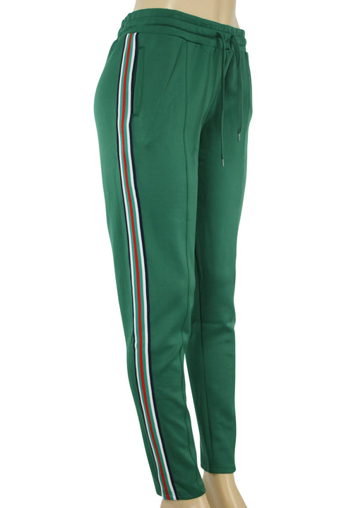 Women's Side Stripe Tricot Track Pants Green (ST820P 22S)