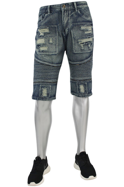 Zip Moto Denim Shorts Dark Blue (7070)