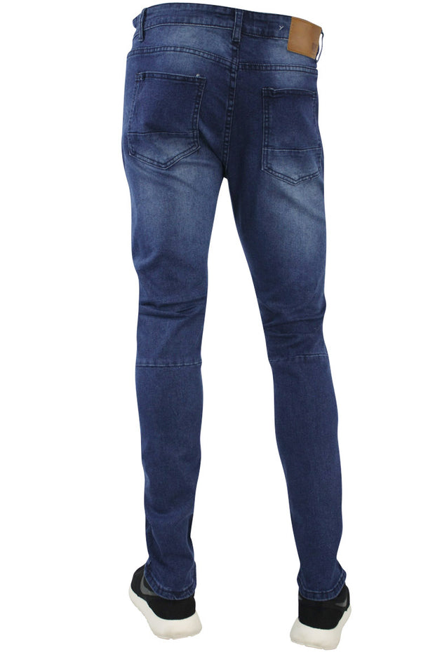 Zip Moto Skinny Fit Denim Indigo Blue (4388)