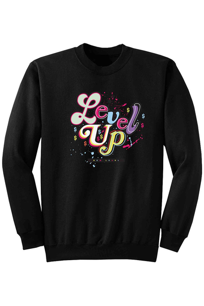 Level Up Fleece Crewneck Black (DS6045) - Zamage