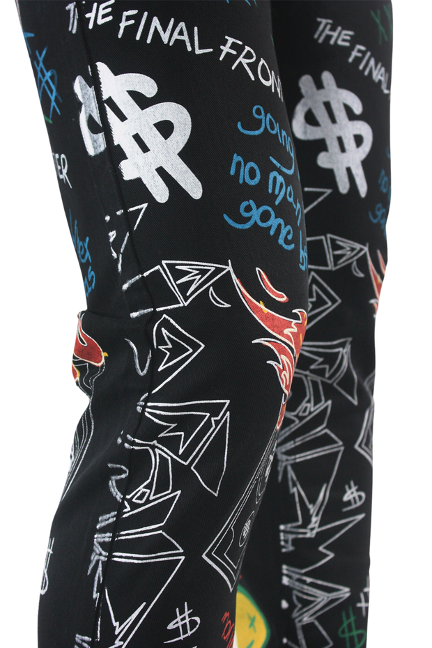 Graffiti Print Liftoff Skinny Fit Denim Black (M4977T) - Zamage