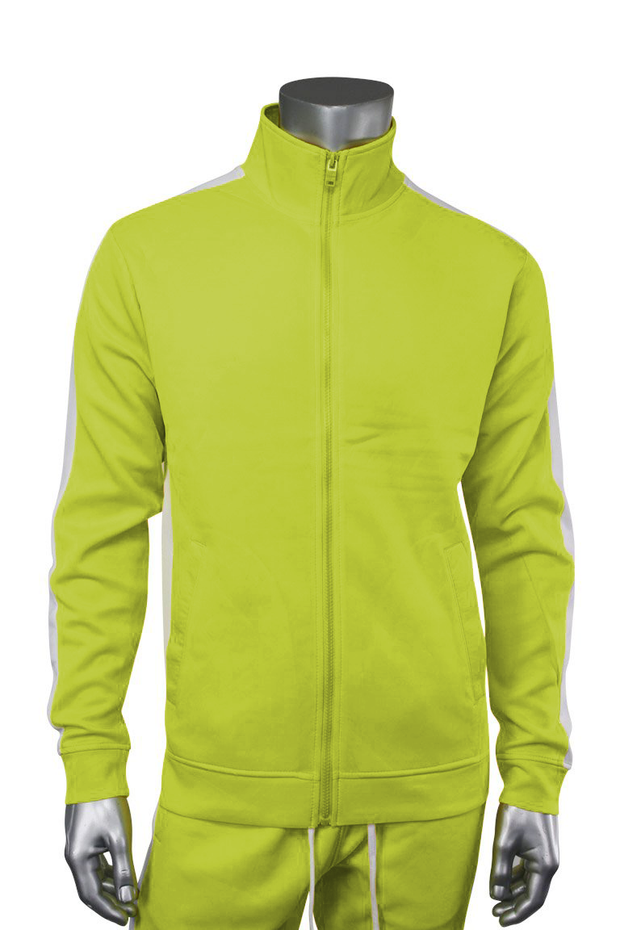 Solid One Stripe Track Jacket Lime (100-502) - Zamage