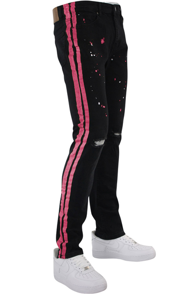 Side Stripe Print Skinny Fit Track Denim Black - Pink (M4701DB) - Zamage