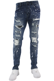 Patched Skinny Fit Denim Blue Wash (M4931D)