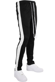 Side Stripe Zip Pocket Tricot Tracks Black - White (MK7753)