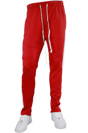 Side Stripe Zip Pocket Tricot Tracks Red - White (MK7753) - Zamage