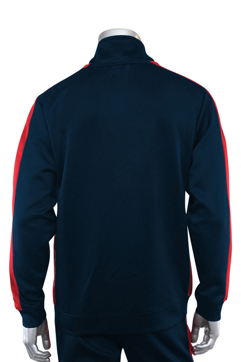 Solid One Stripe Track Jacket Navy - Red (100-501) - Zamage