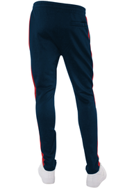 Solid One Stripe Track Pants Navy - Red (100-401)