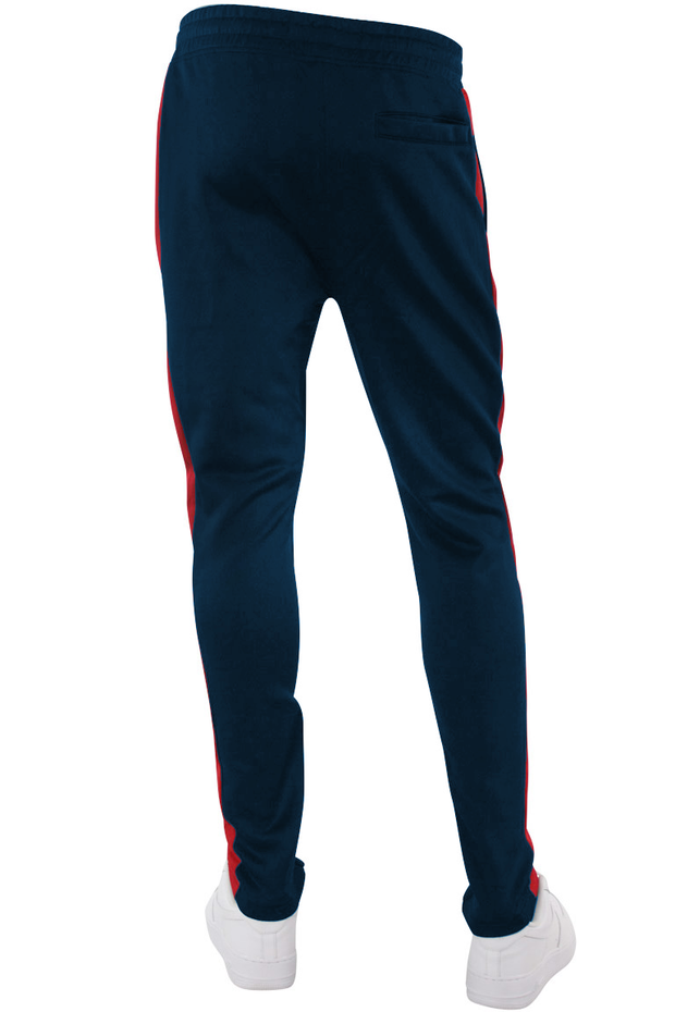 Solid One Stripe Track Pants Navy - Red (100-401) - Zamage